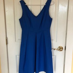 JCrew size 4 royal blue satin knee length dress!